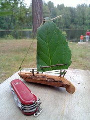 Crafted a bark-boat in summer cabin (tlaukkanen) Tags: kids finland outdoors boat flickr picasa crafting facebook petjvesi ovi posterous