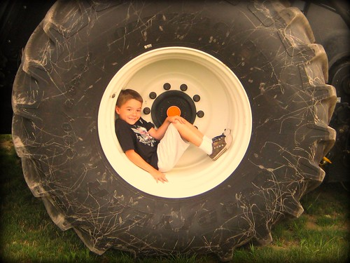 A boy in a tire 1