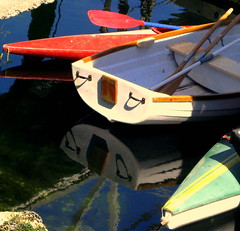 DINGHIES AND THEIR  COLORS AND REFLECTIONS (vermillion$baby) Tags: boat canoe color dinghy oars rowboat sea vibrant victoria vivid water dinghey pleasure leisure reflection bc harbor pattysfavs boats canada coastline ocean vancouverisland pacificnorthwest stern colora
