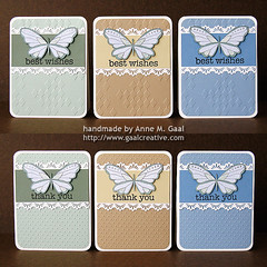 Butterfly Lace Stationery Set - 2nd Half (prospurring (Anne)) Tags: blue green thanks butterfly ranger tan butterflies textile fawn hazel happybirthday sakura sunburst birthdays coloredpencils prismacolor heroarts stardust thankyous fiskars thinkingofyou diamondsintherough jetblack stonewash bestwishes swissdots cornerrounder stationeryset archivalink cuttlebug provocraft bazzillbasics waterproofinks divineswirl prospurring borderpunch cg130 borderpunches cl371 essentialmessages august2010a clingset clearglittergelpen