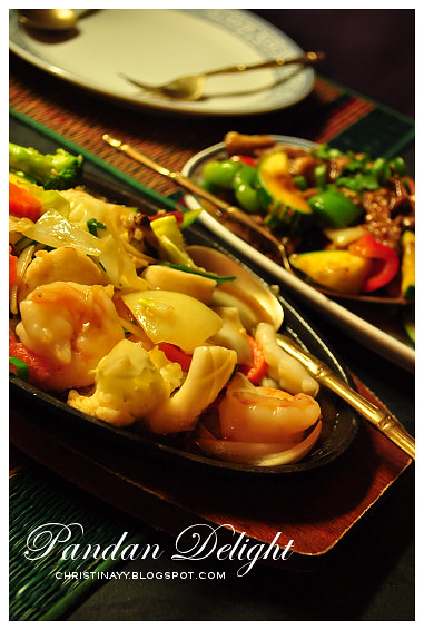 Pandan Delight: Sizzling Ginger & Shallot Seafood