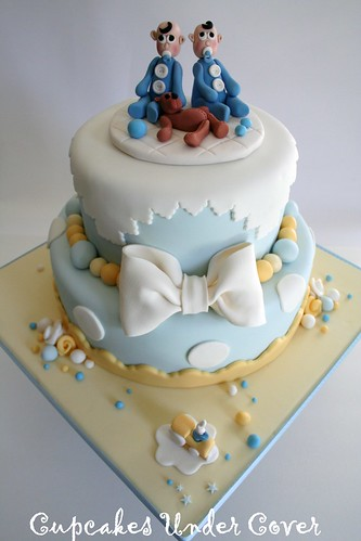 Twin Boys Baby Shower Cake
