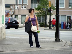 The Girl with the Chinese Tattoo (knightbefore_99) Tags: food shirt tattoo vancouver bc purple candid fat chinese grandview commercialdrive eastvan thedrive