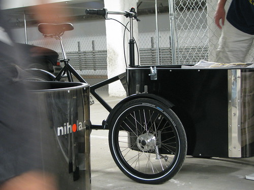 Flying Pigeon LA's Nihola cargo tricycles in the staging area for distribution of the Blogdowntown Weekly.