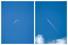 Wish I knew what you were looking for (Kris *) Tags: blue sky moon white blanco azul clouds plane canon 350d for looking you july luna cielo julio nubes what were wish avin 2010 knew i xkrysx