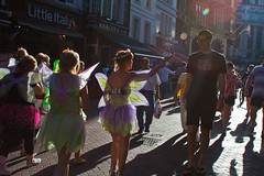 London summer [1] (Che-burashka) Tags: street girls people sun london smiling butterfly wings women shadows candid soho joy streetphotography happiness places dressedup confetti flare grin leicestersquare henparty londonsummer canonef28mmf18usm