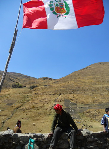 Peruvian flag blows in rural Putis
