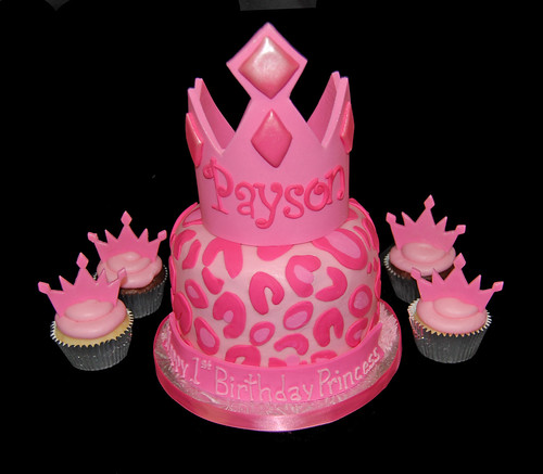 Pink cheetah print Princess Tiara first birthday cupcake tower