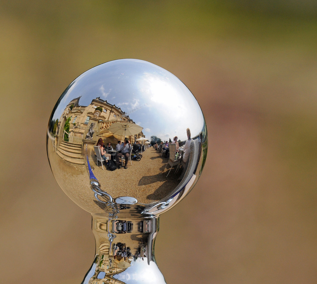 Harewood House reflected in a Chrome Barrier Knob