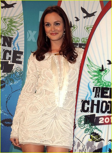 Actress Leighton Meester poses in press room during the 2010 Tee