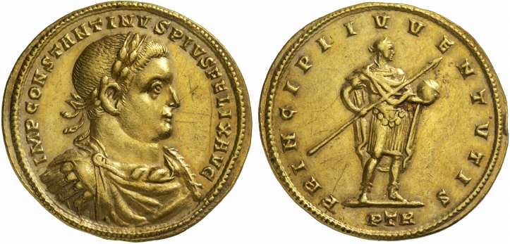 A Unique, Magnificent, and Highly Important Roman Gold Medallion of 9 Solidi of Constantine I 'the Great' (307-337 C.E.), the Largest Known Medallion of this Emperor in Existence, From the Famed Arras