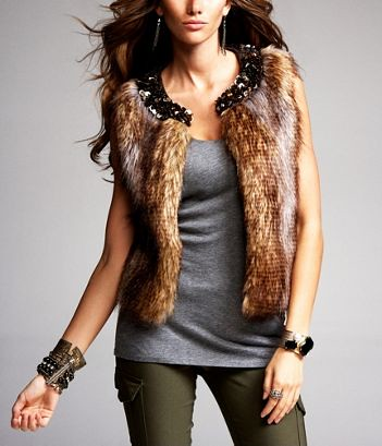 Express Minus the Fur Embellished Vest