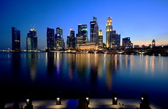 Evening at the Esplanade (A Sutanto) Tags: city longexposure blue reflection skyline night marina lights evening bay singapore asia downtown dusk lion hour cbd sg esplande