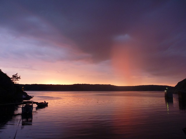 sunset and rain over Gullmarsfjorden