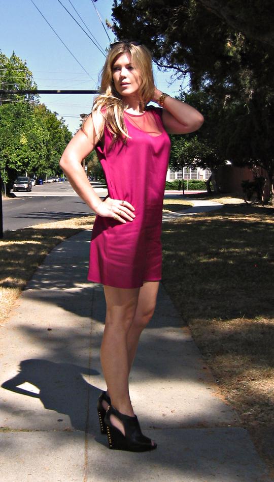cynthia vincent sheath dress+pour la victoire studded wedges