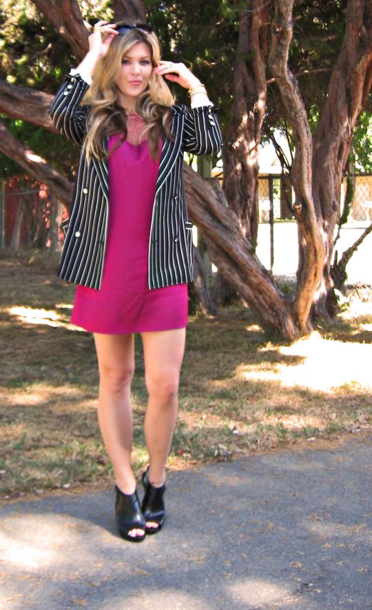 berry pink dress+striped blazer+pour la victoire wedges