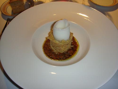 Pastel de changurro con caviar de erizo y sorbete de limón