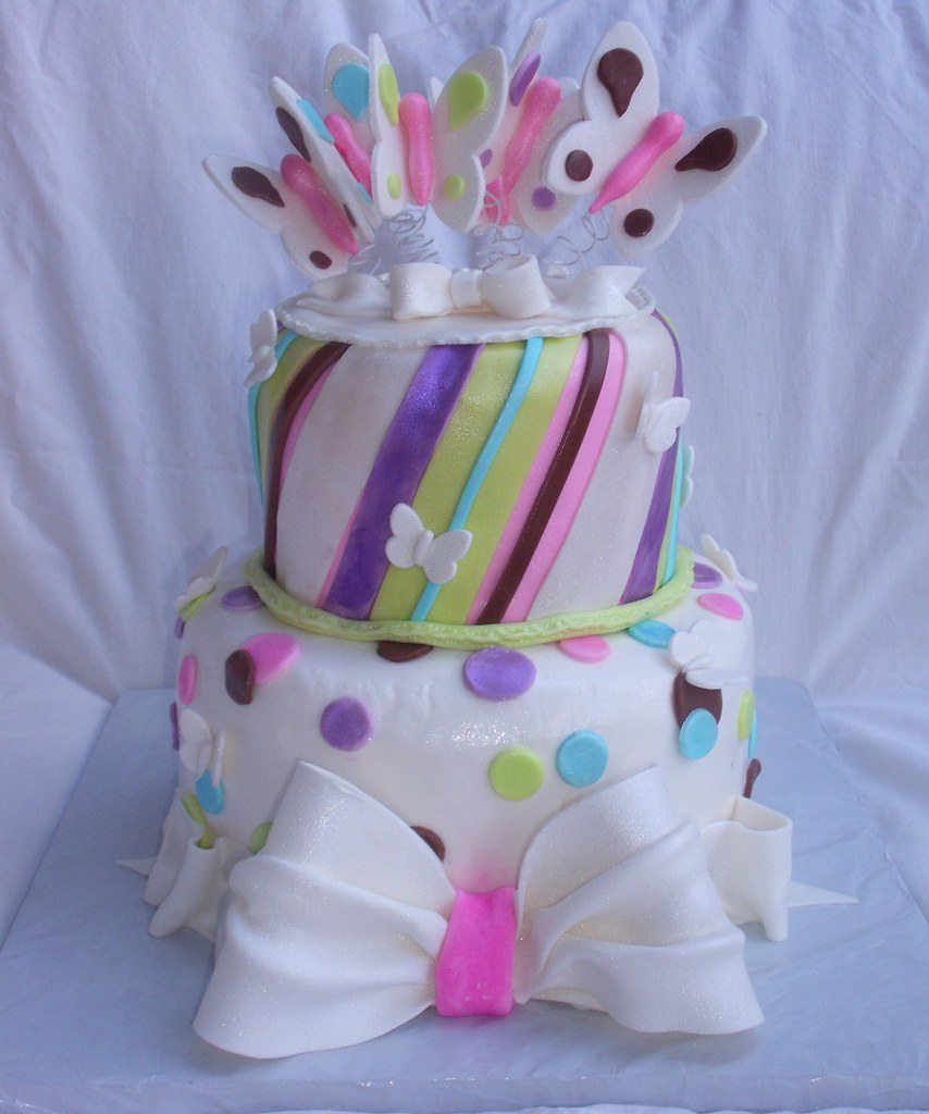 Butterfly Stripes Dots Bows Whimsical Cake