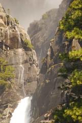Yosemite Falls, Middle Falls (bcr160) Tags: bridge blue trees light sun color reflection tree green water rock creek river nikon rocks screensaver path background brian merced falls valley yosemite redwood dslr riffle d80 kl0 bcr160