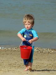 Hard work (09/08) (Claire-Louise75) Tags: dylan beach seaside bucket norfolk seapalling