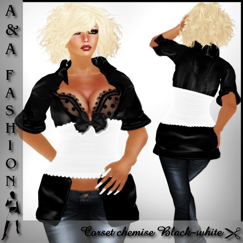 A&A Fashion Corset chemise Black-white