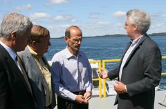 Left to right, Congressman Mike Michaud, state Sen. Kevin Raye, Gov. John Baldacci and Chris Sauer