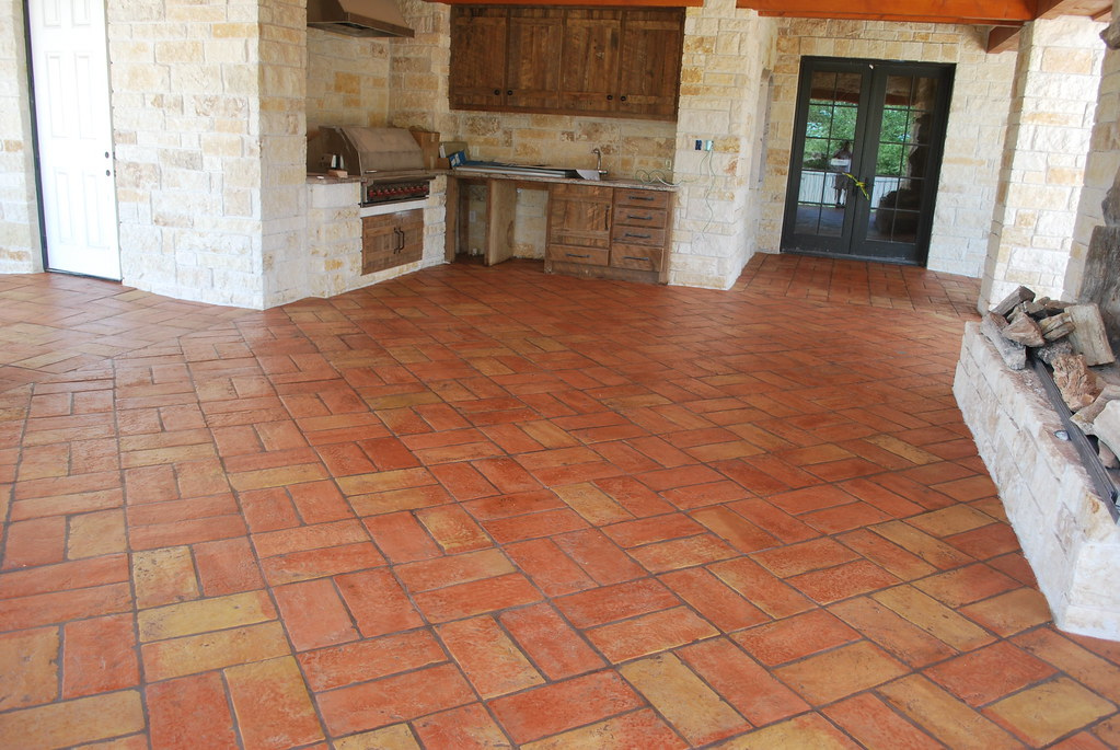 Terracotta Tile Flooring for Outdoor Kitchen