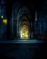 Textures of night (futhark) Tags: blue texture church yellow wall night canon tile square noche high mood dynamic angle cathedral nacht wide arc dramatic atmosphere textures walls drama vignetting range nuit dri hdr highdynamicrange hdri photomatix 40d