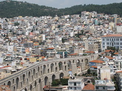 Roman Aqueduct and Kavala city,Greece (Alexanyan) Tags: city building tower castle greek roman hellas aqueduct greece macedonia grecia northern grece kavala hellenic makedonia   griechland