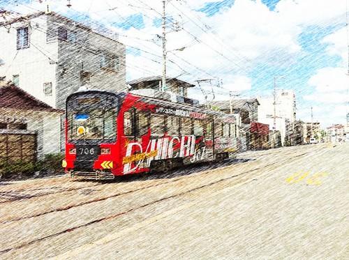 今日の写真 No.3 – いつもの電車道/iPhone4 + ToyCamera、CAMERAtan