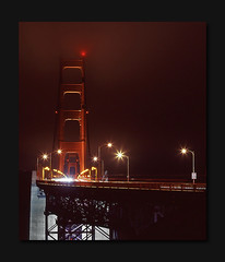 High-Beams (RZ68) Tags: sanfrancisco bridge cars night mediumformat golden gate san francisco long exposure towers foggy trails velvia goldengatebridge goldengate 6x7 streaks provia drizzle ggb e100 rz68