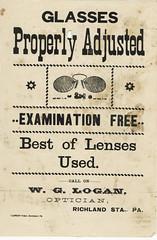 Optician's Handbill (gil.cva34) Tags: vintage advertising ephemera pa printing 1900 eyeglasses letterpress optometrist optician handbill optometry lebanoncounty eyeexamination richlandstation wglogan