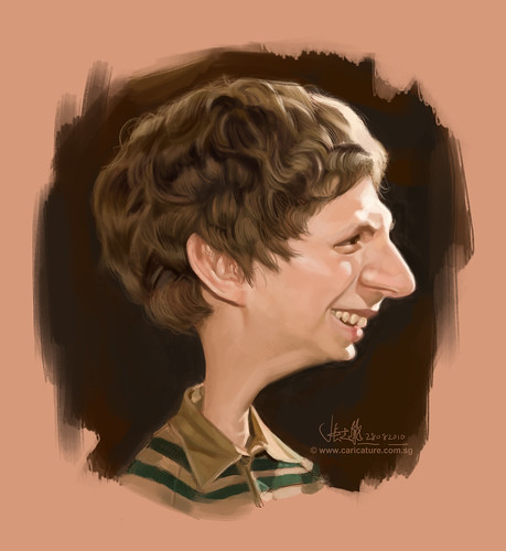 digital caricature of Michael Cera