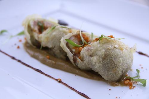 Napa Morimoto - fig tempura with peanut butter foie gras