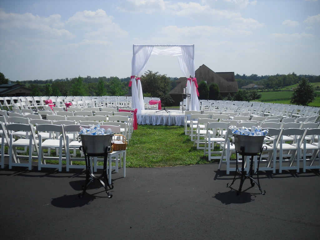 Wedding canopy in circle of chairs