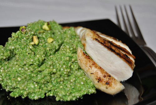 Quinoa with Arugula and Pistachio Pesto