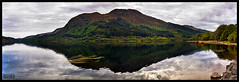 Loch Lubnaig - Panorama (pbassek) Tags: park panorama reflection grey scotland cow nikon cows stones stirling hill gray highland filter national loch grad lomond trossachs cpl callander lubnaig d40