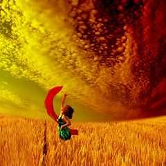 ~ golden moments ~ (~ Pixel Passion ~) Tags: blue red sky people orange woman girl yellow clouds scarf germany happy freedom golden fly air magic dream free happiness human kathrin dreamy moment conceptual magical dreamscape fussel goldenmoment