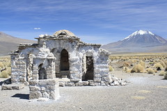 The cutest church in Bolivia? (Pikes On Bikes) Tags: mountain church america volcano nationalpark south bolivia andes altiplano parinacota parquenacional sajama cycletouring americadelsur pikesonbikes