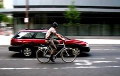 Bike and car, downtown Portland, Oregon