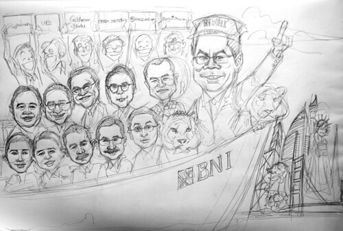Group caricatures for Goldman Sachs - pencil sketch