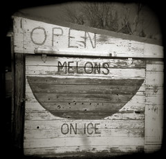 Open Melons on Ice (efo) Tags: bw sign watermelon fruitstand melon