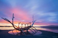 Midnight Sun @ The Sun Voyager (Reykjavík, Iceland) (nagarajan_kanna) Tags: iceland landscape longexposure midnightsun redsky reykjavík sunvoyager sunset sunstar viking sculpture