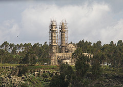 Mosque under construction, Gurage Zone, Butajira, Ethiopia (Eric Lafforgue) Tags: abyssinia africa architectural architecture building buildingexterior butajira copyspace eastafrica ethiopia ethiopia0617447 eucaliptus faith fulllenght gurage holy horizontal hornofafrica islam islamic minaret minarets mosque muslim new nopeople outdoors placeofworship religion religious scaffold scaffolding site structures trees worship guragezone et
