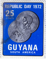 Guyana Republic Day 1972 25 cents