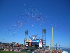 Balloons over the scoreboard