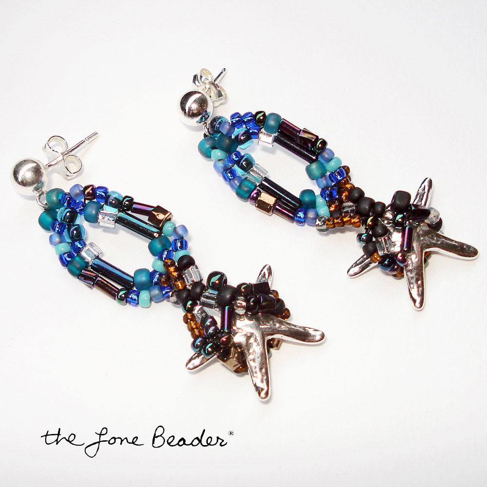 TRAPPED freeform beaded sterling silver starfish earrings