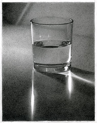 Half Full or Half Empty? (Uriolus) Tags: art water glass pencil arte drawing empty lapiz full half dibujo aigua dibuix oriol vas llapis arumi