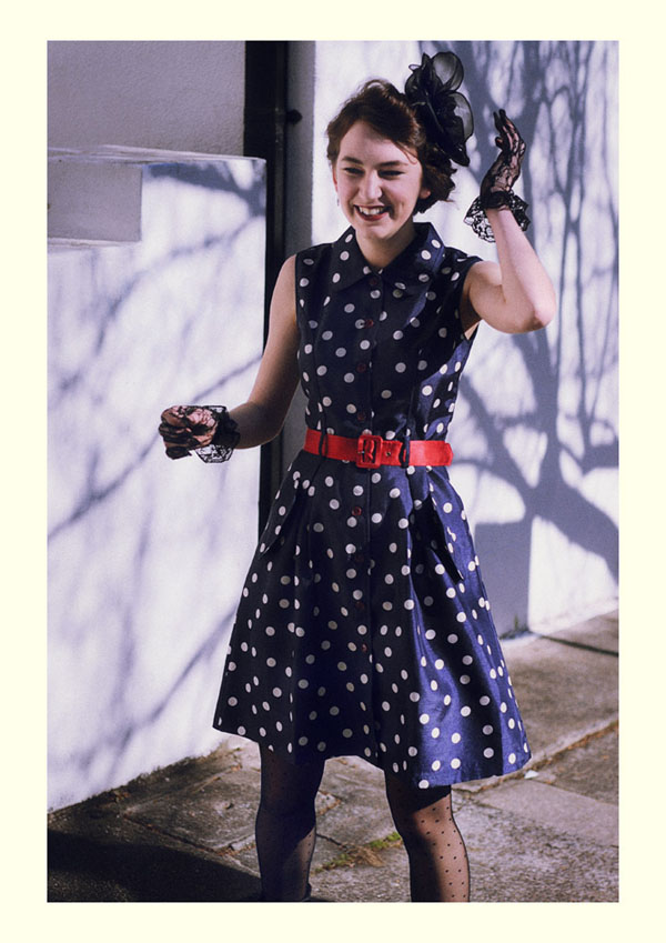 Blue dress, white polka dots, Vintage Fashion Photography