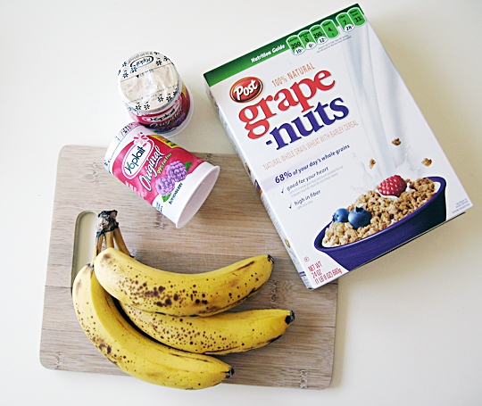 bananas+yogut+grape nuts+healthy frozen snack
